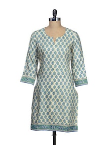 Stylish Blue & White Printed Kurta - Vedanta
