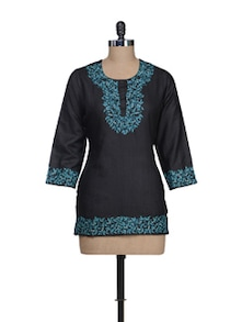 Black & Blue Embroidered Kurti - Vedanta