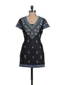 Black & Blue Floral Magic Kurta - Vedanta