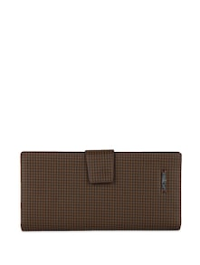 Chequered Wallet In Brown & Black - Lino Perros