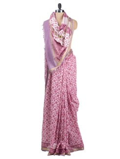 Block Printed Chanderi Saree - Cotton Curio 621