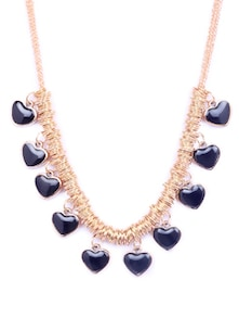 Gold & Black Heart Pendant Necklace - CIRCUZZ
