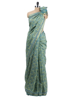 Block Printed Chanderi Saree - Cotton Curio 623