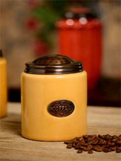 Mustard Ceramic Jar with a copper lid - ANUVA