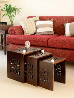 Wooden Nested Tables in Brown (Set of 3) - ANUVA