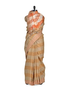 Striped Tusser Silk Saree In Beige & Orange - Eco Stree