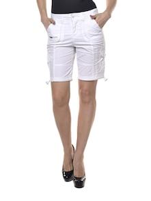 Winsome White Cotton Shorts - La Rochelle