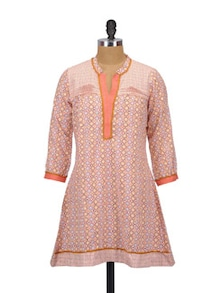 Peach Sorbet Cotton Kurta - Glam And Luxe