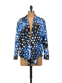 Blue Bliss Polyester Shrug - Glam And Luxe