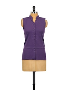 Plush Purple Cotton Top - Glam And Luxe