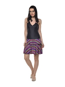 Striped Skirt Halter Dress - Holidae
