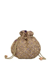 Sequined Purple and Golden Potli Bag