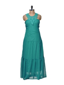 Lace Accented Dress In Green - La Zoire