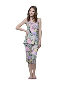 Set Of Premium Satin Floral Nightdress In Lilac - Cloe