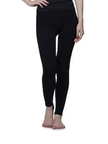 Ankle Length Fleece Legging In Black - Cloe