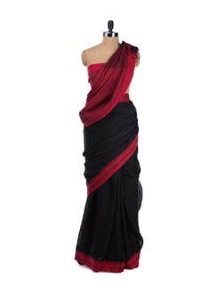 Colour Block Twisted Linen Saree - Desiweaves