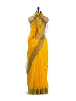 Yellow And Green Chanderi Saree - Desiweaves