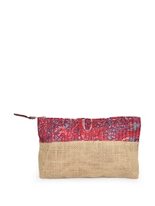 Printed Red Jute Pouch - Use Me