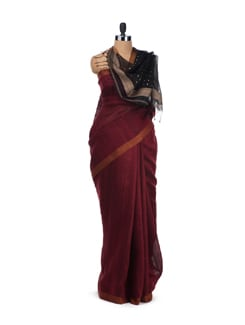 Maroon Muga Silk Saree With Black Chanderi Silk Pallu - Desiweaves