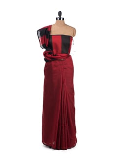 Red And Black Saree With Chanderi Silk Pallu - Desiweaves