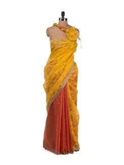 Yellow And Red Chanderi Jamdani Patterned Saree - Desiweaves