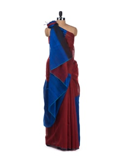 Red And Blue Raw Silk Colour Block Saree - Desiweaves