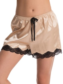 Beautiful Beige Satin  Shorts - PrettySecrets