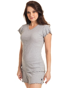Subtle Grey Cotton Tee - Slumber Jill
