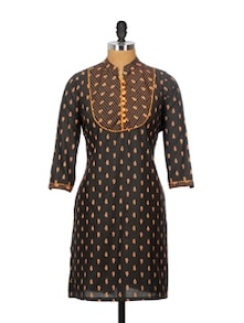 Black Cotton Summer Kurta - Sohniye
