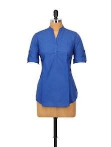 Navy Blue Cotton Kurta - Sohniye