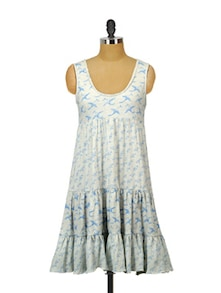 Swan Print Sleeveless Dress - Indricka