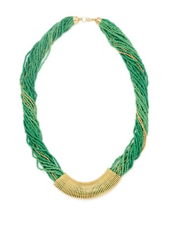 Green And Gold Beaded Necklace - Accessory Bug