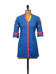 Embroidered Sleeves Shirt Style Kurti - Indricka