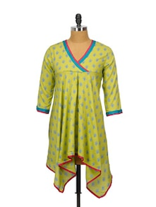 Printed Lime Green Asymmetrical Kurti - Indricka