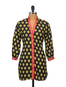 Buttoned Black Kurti In Ethnic Print - Indricka