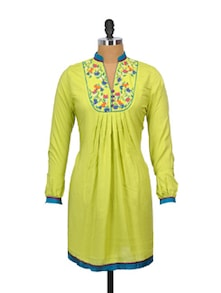 Lime Green Kurti With Embroidered Yoke - Indricka
