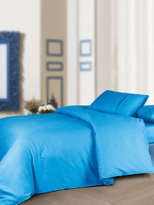 Luxe Blue Bedsheet With Pillow Covers - Oxford