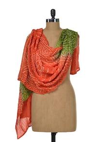 Crushed Bandhni Dupatta In Orange-Green - Sakrip