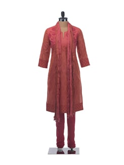 Deep Red and Orange Block Printed Suit Set with Churidar and Crinkled Dupatta (Set of 3) - KILOL