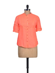 Tingling Tangerine Cotton Shirt - Silk Weavers