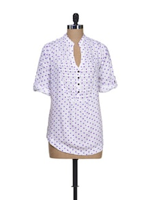 Polka Play Purple Top - Silk Weavers