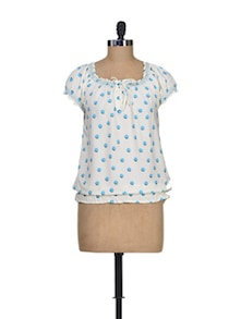 Polka Printed Polyester Top - Silk Weavers