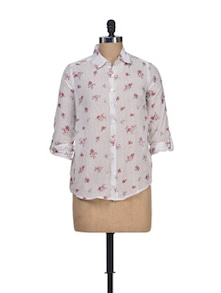 Floral Printed Cotton Shirt - Silk Weavers