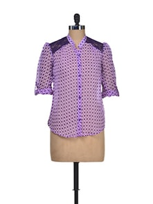 Purple Rush Chiffon Shirt - Silk Weavers