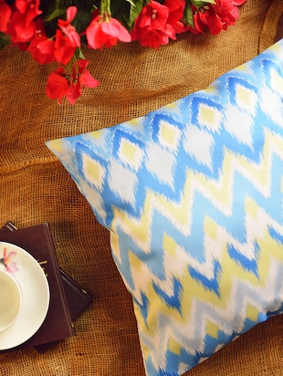 Blue & Yellow Ikat Cushion Cover