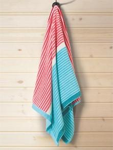 Red & Aqua Blue Striped Bath Towel - Esprit