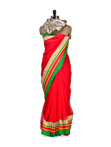 Bright Red Saree With Green Border - Purple Oyster