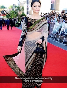 Beautiful Black And White Net Saree - Istyledeals