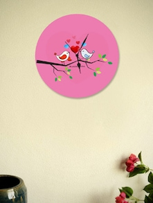 Love Birds Pink Wall Clock - BLACKSMITH