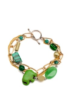 Green And Gold Chunky Charm Bracelet - Eesha Zaveri; Jewellery By Design